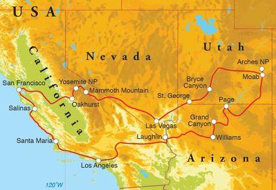 Routekaart Rondreis West Amerika hotelreis, 21 dagen