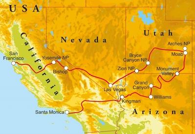 Routekaart Rondreis West Amerika, 21 dagen hotelreis