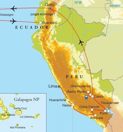 Routekaart Rondreis Peru, Ecuador & Galapagos, 27 dagen