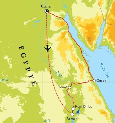 Routekaart Rondreis Egypte, Nijlvallei & Rode Zee, 14 dagen