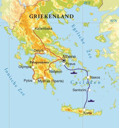Routekaart Rondreis Griekenland, 20 dagen