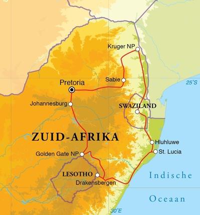 Routekaart Rondreis Zuid-Afrika noord & Swaziland, 15 dagen