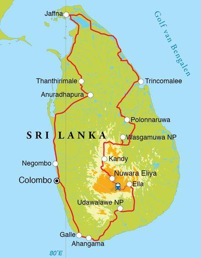 Routekaart Rondreis Sri Lanka, 21 dagen