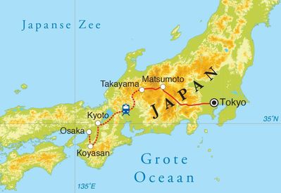 Routekaart Rondreis Japan, 15 dagen