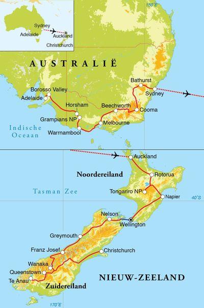 Routekaart Rondreis Australië & Nieuw-Zeeland, 30 dagen