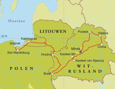 Routekaart Rondreis Wit-Rusland, Kaliningrad en Polen, 12 dagen