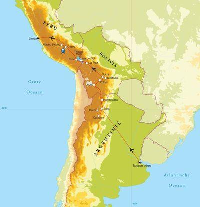 Routekaart Van Buenos Aires naar Lima, 27 dagen