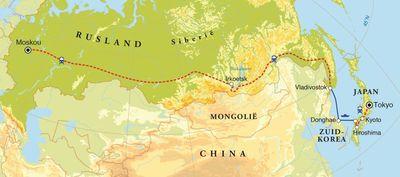 Routekaart Transsiberië Express & Japan, 24 dagen