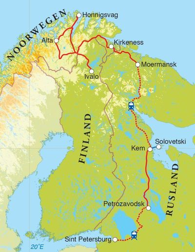 Routekaart Rondreis Rusland, Noorwegen & Finland, 14 dagen