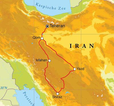 Routekaart Rondreis Iran, 10 dagen