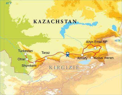 Routekaart Rondreis Kazachstan, 14 dagen