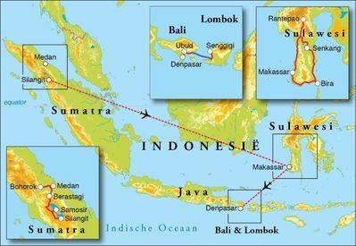 Routekaart Rondreis Sumatra, Sulawesi, Bali & Lombok, 23 dagen