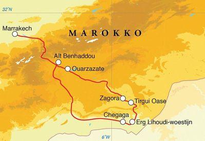 Routekaart Woestijnreis Marokko, 10 dagen
