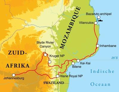 Routekaart Rondreis Zuid-Afrika, Swaziland & Mozambique, 16 dagen