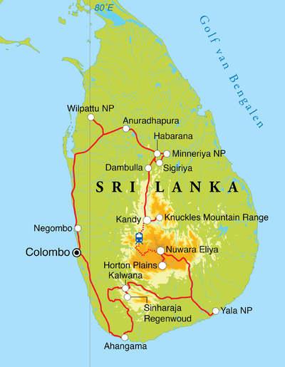Routekaart Safarireis Sri Lanka, 15 dagen