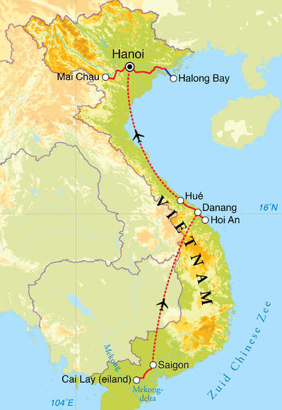 Routekaart Kookreis Vietnam, 15 dagen