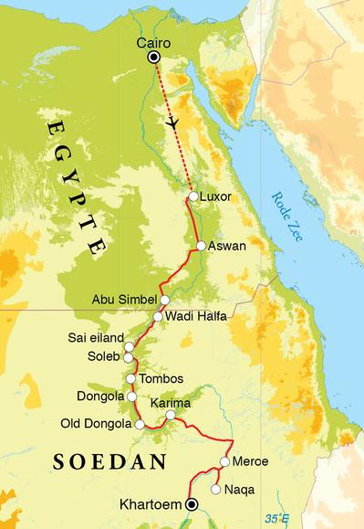 Routekaart Rondreis Egypte & Soedan, 19 dagen