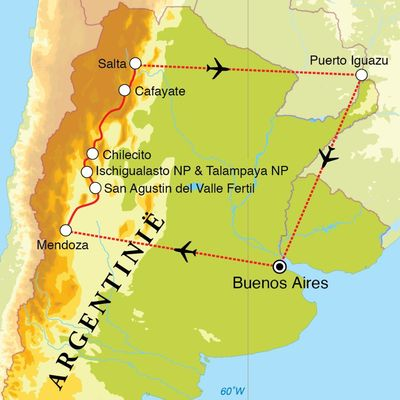 Routekaart Rondreis Noord-Argentinië, 18 dagen