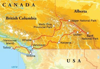 Routekaart Rondreis Canada, 19 dagen kampeerreis