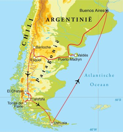 Routekaart Rondreis Argentinië & Chili, 23 dagen