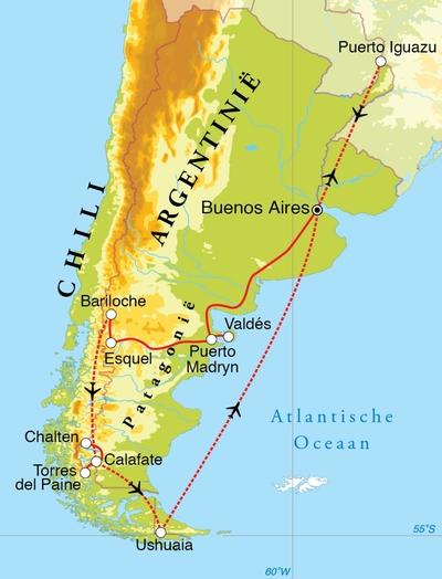 Routekaart Rondreis Argentinië, Chili & Iguaçu, 25 of 26 dagen