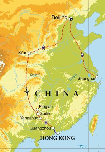 Routekaart Rondreis China, 18 dagen