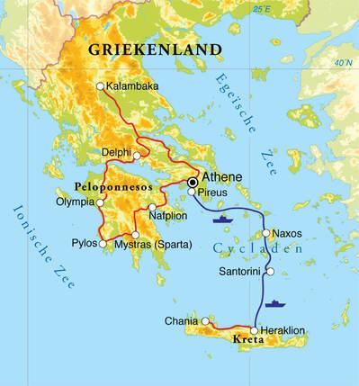 Routekaart Rondreis Griekenland, 18 dagen