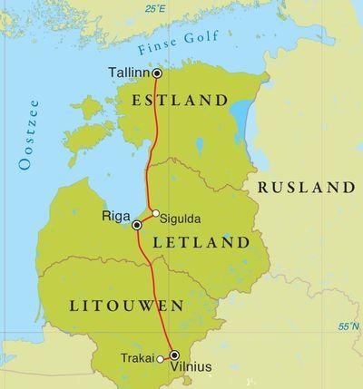 Routekaart Rondreis Litouwen, Letland & Estland, 8 dagen