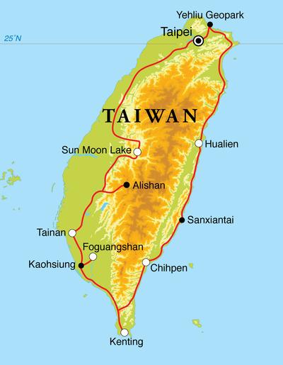 Routekaart Rondreis Taiwan, 15 dagen