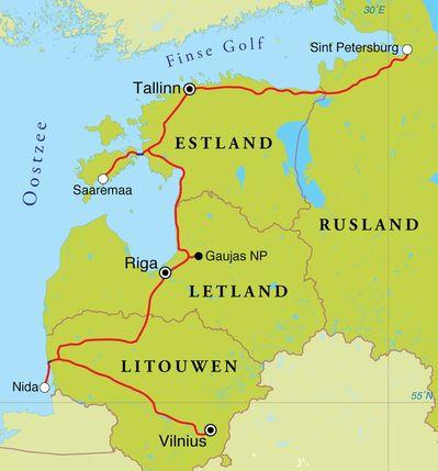 Routekaart Rondreis Litouwen, Letland, Estland & Sint-Petersburg, 14 dagen