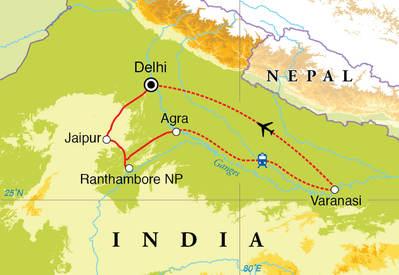 Routekaart Rondreis India, 15 dagen