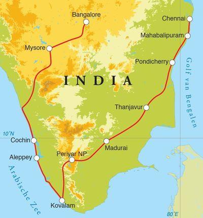 Routekaart Rondreis Zuid-India, 21 dagen