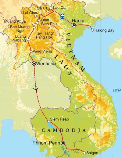 Routekaart Rondreis Vietnam, Laos & Cambodja, 23 dagen