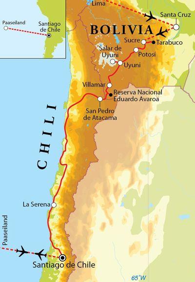 Routekaart Rondreis Bolivia, Chili & Paaseiland, 23 dagen