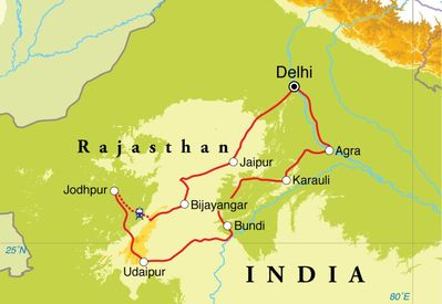 Routekaart Rondreis India, Rajasthan Paleizen, 15 dagen