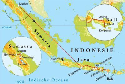 Routekaart Rondreis Sumatra, Java & Bali, 21 dagen