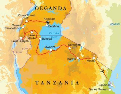 Routekaart Rondreis Oeganda, Tanzania & Zanzibar, 21 / 22 dagen hotel/kampeerreis