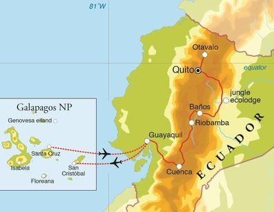 Routekaart Rondreis Ecuador & Galapagos, 21 dagen