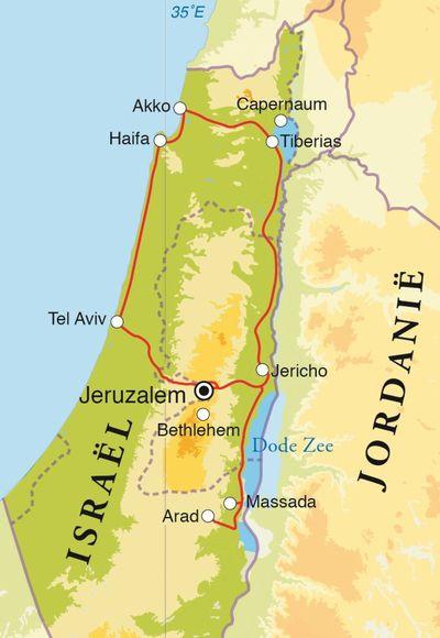 Routekaart Rondreis Israël, 12 dagen