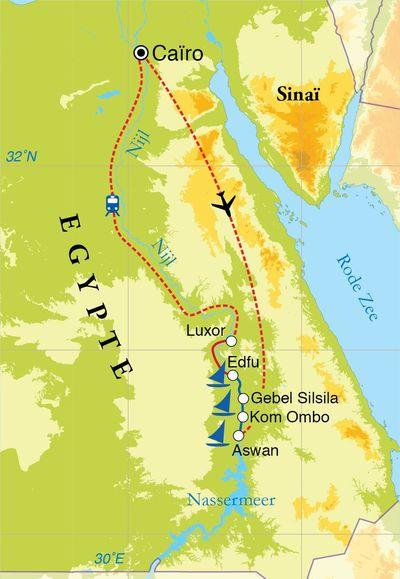 Routekaart Rondreis Egypte, Nijlvallei en zeilcruise, 11 dagen