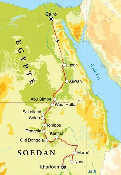 Routekaart Rondreis Egypte & Soedan, 20 dagen
