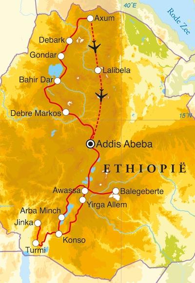 Routekaart Rondreis Ethiopië, 24 dagen