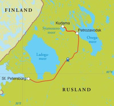 Routekaart Winterreis Rusland, 8 dagen