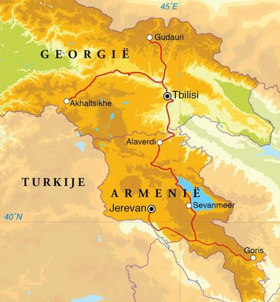 Routekaart Rondreis Armenië & Georgië, 15 dagen