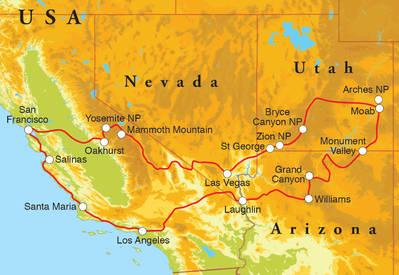 Routekaart Rondreis West-Amerika, 21 dagen hotelreis