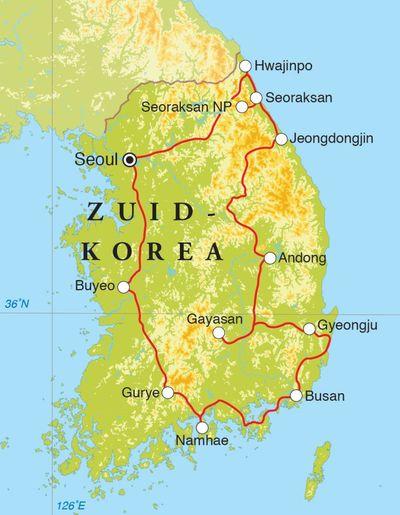 Routekaart Rondreis Zuid-Korea, 15 dagen