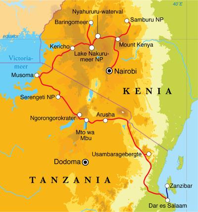 Routekaart Rondreis Kenia, Tanzania & Zanzibar, 21 dagen kampeerreis