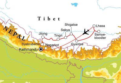 Routekaart Rondreis Tibet & Nepal, 20 dagen