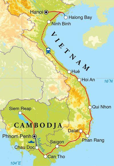 Routekaart Rondreis Vietnam & Cambodja, 27 dagen