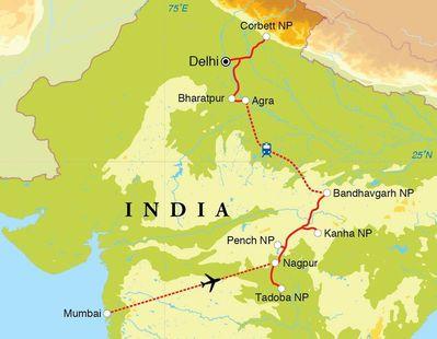 Routekaart Safarireis India, 18 dagen